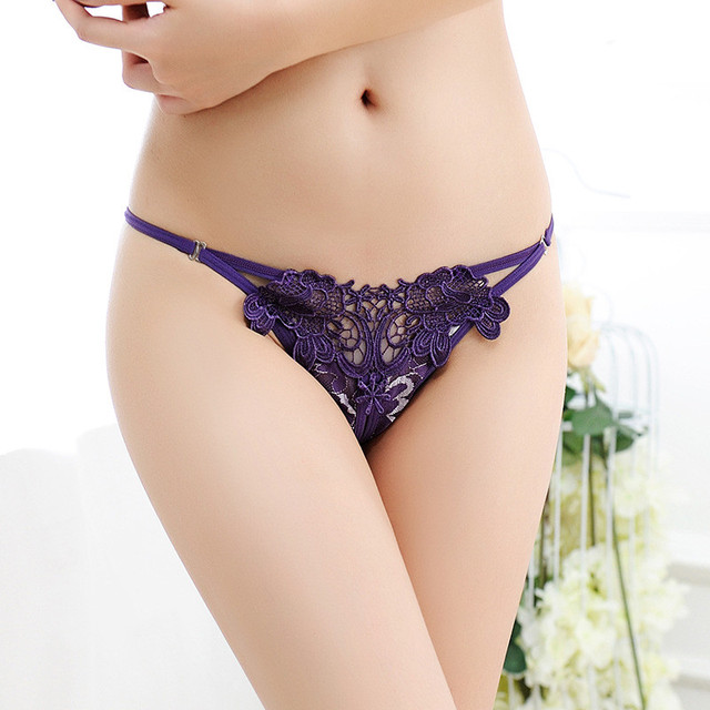 Women's Underwear Embroidery Flower Transparent Sexy Panties Temptation Low-waist Briefs Thongs Female Panties For Sex