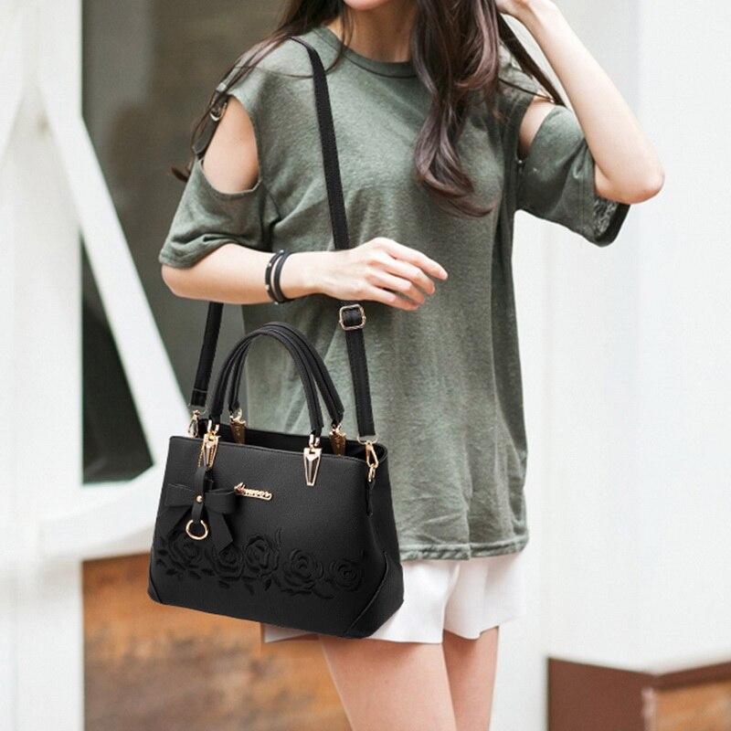 Womens Bags Handbags Vintage Casual Tote Fashion Rose Women Messenger Bags Shoulder Top-Handle Black Crossbody Leather Bag