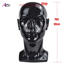 PVC Black Male Mannequin Head For Hat Wigs Display Stand Without Hair Model