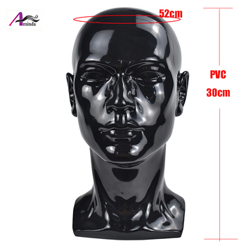 PVC Black Male Mannequin Head For Hat Wigs Display Mannequin Head Stand Without Hair Head Mannequin Model For Display