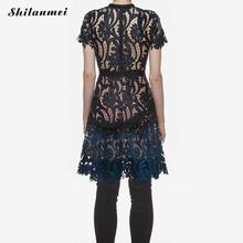 Runway designer Dress 2017 summer style Elegant women dress hollow embroidered patchwork dress slim high waist party vestidos