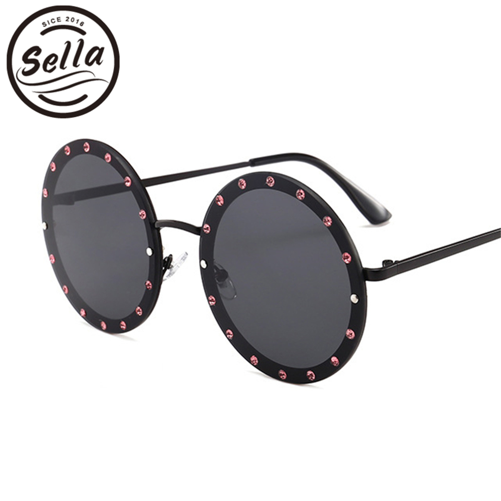 Sella European Style Oversized Retro Round Sunglasses Fashion Women Men Candy Color Tint Lens Rhinestone Decoration Sun Glasses