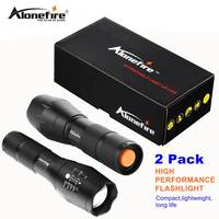 AloneFire E17 CREE T6 2 Pack Zoomable Ultra Bright Handheld LED Flashlight Djustable Focus Adjustable Water