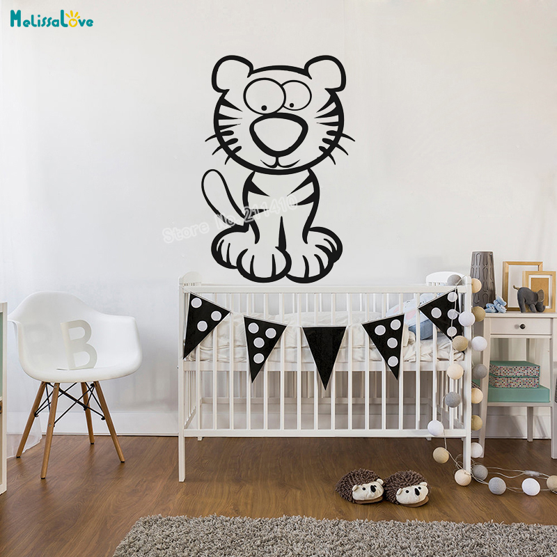 Vinyl Cute Animal Wall Sticker Cartoon Tiger Home Decor
