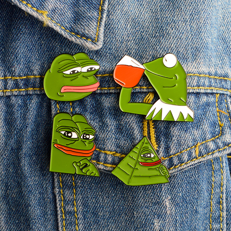 4pcs/set Sad Pepe the Frog Brooches Green Animal Enamel Pins Button Badge  Lapel Pin Cartoon Shirt Bag Jewelry Gift for Girl Boy