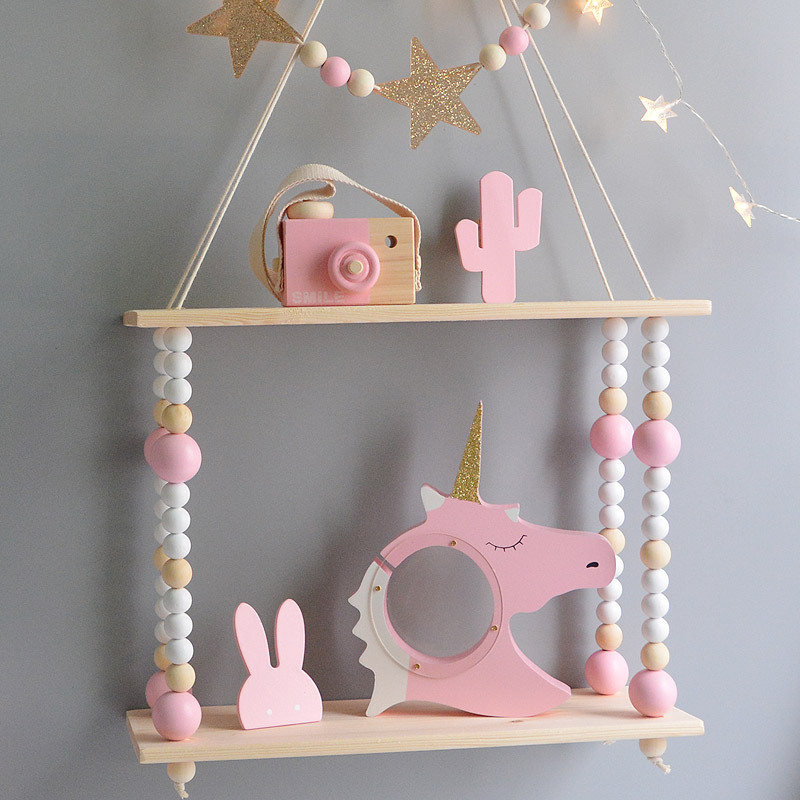 Kids Room Decoration Wooden Shelf For Kids Room Wood Hooks Wall Wood Shelf For Children Boy Girl Room Wall Decor Shelf