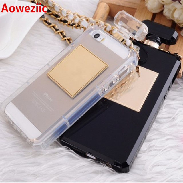 For iPhoneX XR XS 6s 7 8Plus 11 12 Pro MAX Luxury Perfume Bottle TPU Soft Phone Case Handbag With Chain Phone Back Cover Fundas