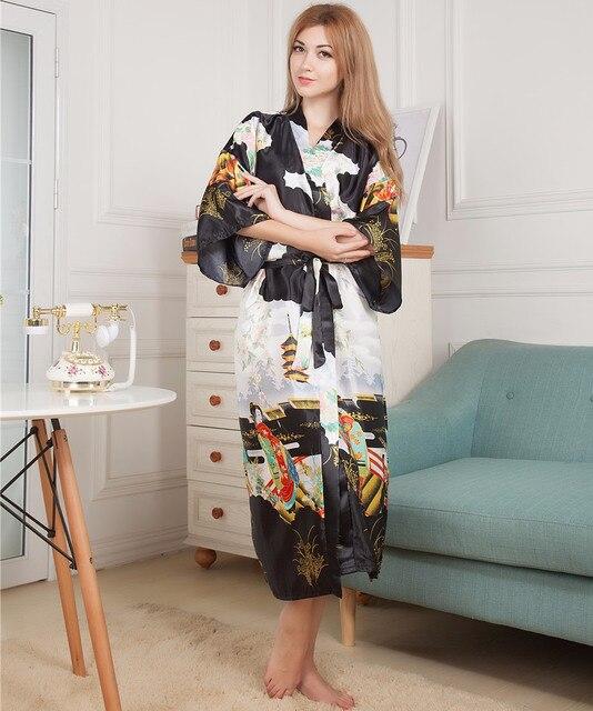 Плюс Размер женщин Искусственного Шелка Кимоно Длинный Халат Ванна Платье Ночная Рубашка Черный Весна Лето Трусы Пижамы Pijama Mujer Mys001