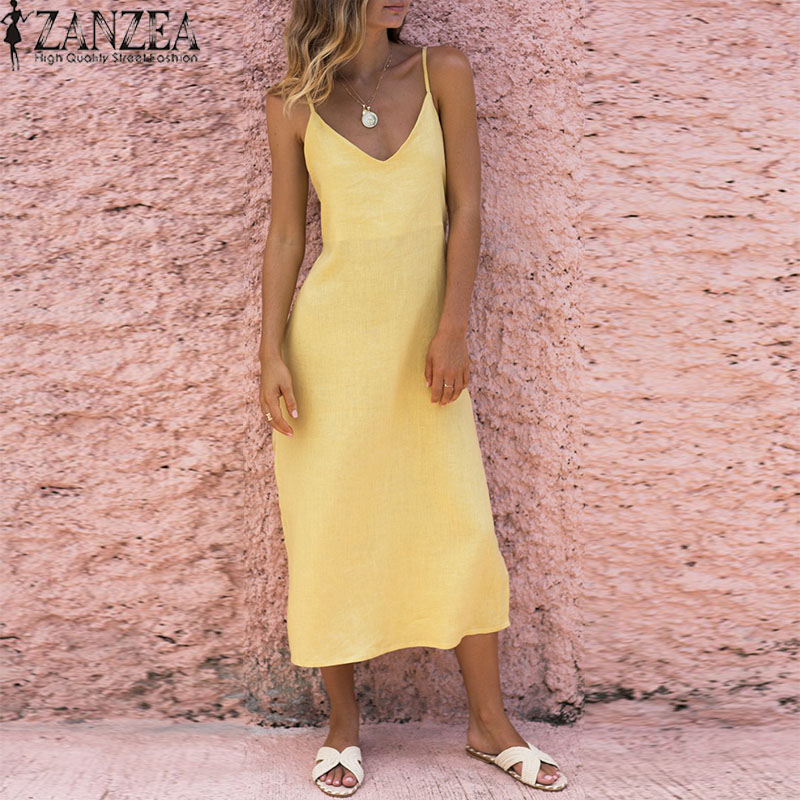 ZANZEA 2018 Summer Spaghetti Strap Long Maxi Dress Women Sexy V Neck Boho Beach Party Fashion Solid Backless Hingh Split Vestido