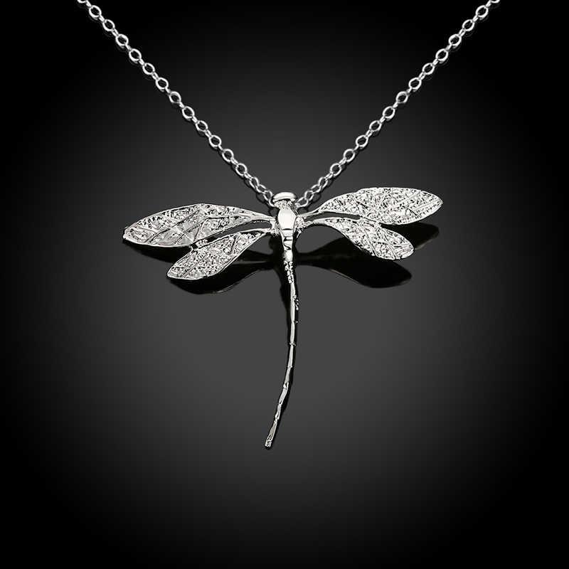 موضة جديدة 925 مجوهرات فضية طويلة اليعسوب المعلقات سلاسل القلائد للنساء هدايا عيد الحب