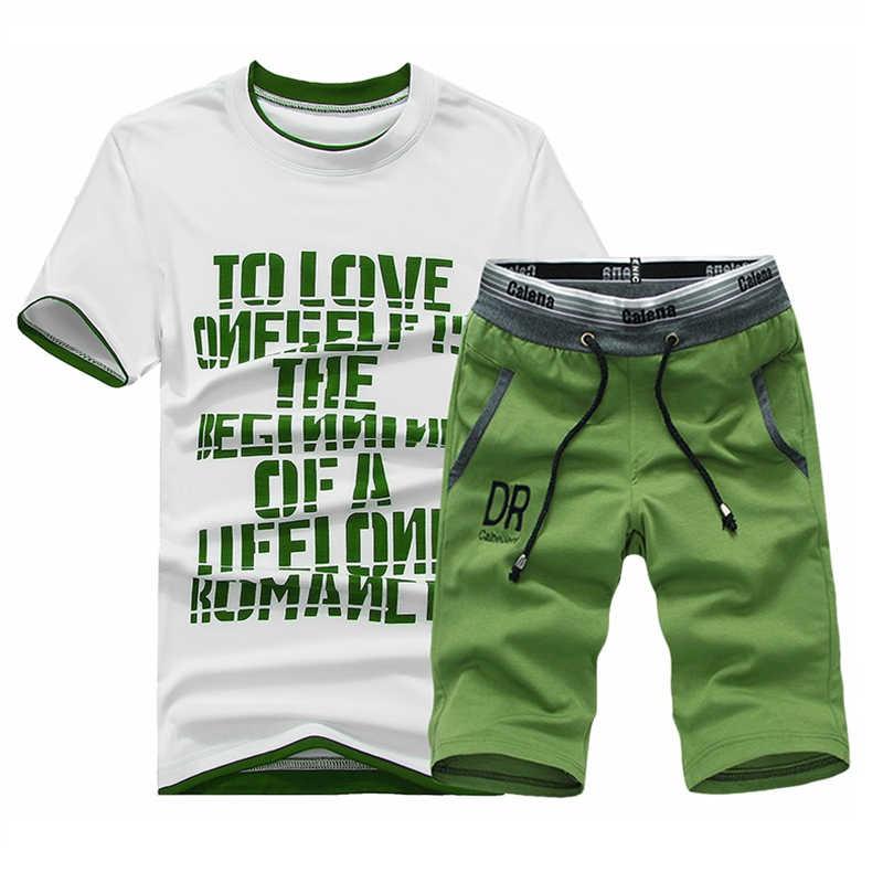 Летний стильный спортивный костюм, мужские комплекты футболок, 2018 летний повседневный спортивный костюм мужской с принтами с буквами, топ, футболка + Комплект футболок