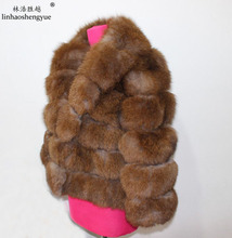 Linhaoshengyue real Fox fur coat suit collar