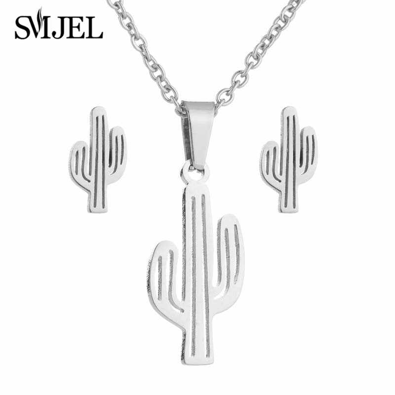 SMJEL Stainless Steel Cactus Necklace Pendants for Women Cute Natural Plant Jewelry Set Small Stud Earing Piercing Men Gift