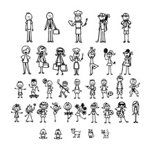 Personalized Stick Figure Family Car Stickers Interesting Motorcycle Vinyl Decals Black/Silver C7-1308(China)