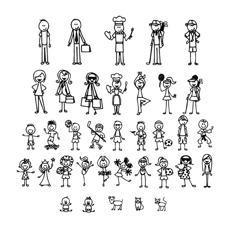 Personalized Stick Figure Family Car Stickers Interesting Motorcycle Vinyl Decals Black/Silver C7-1308