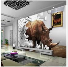 Custom 3d wallpaper Rhino 3 d TV setting wall paper creative space brick wall decoration(China)