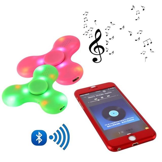 Фиджет-Спиннер светодиодный Bluetooth Динамик EDC несущий подшипник подключение через Bluetooth сделать музыкальное для аутизм синдром дефицита внимания беспокойство стресс