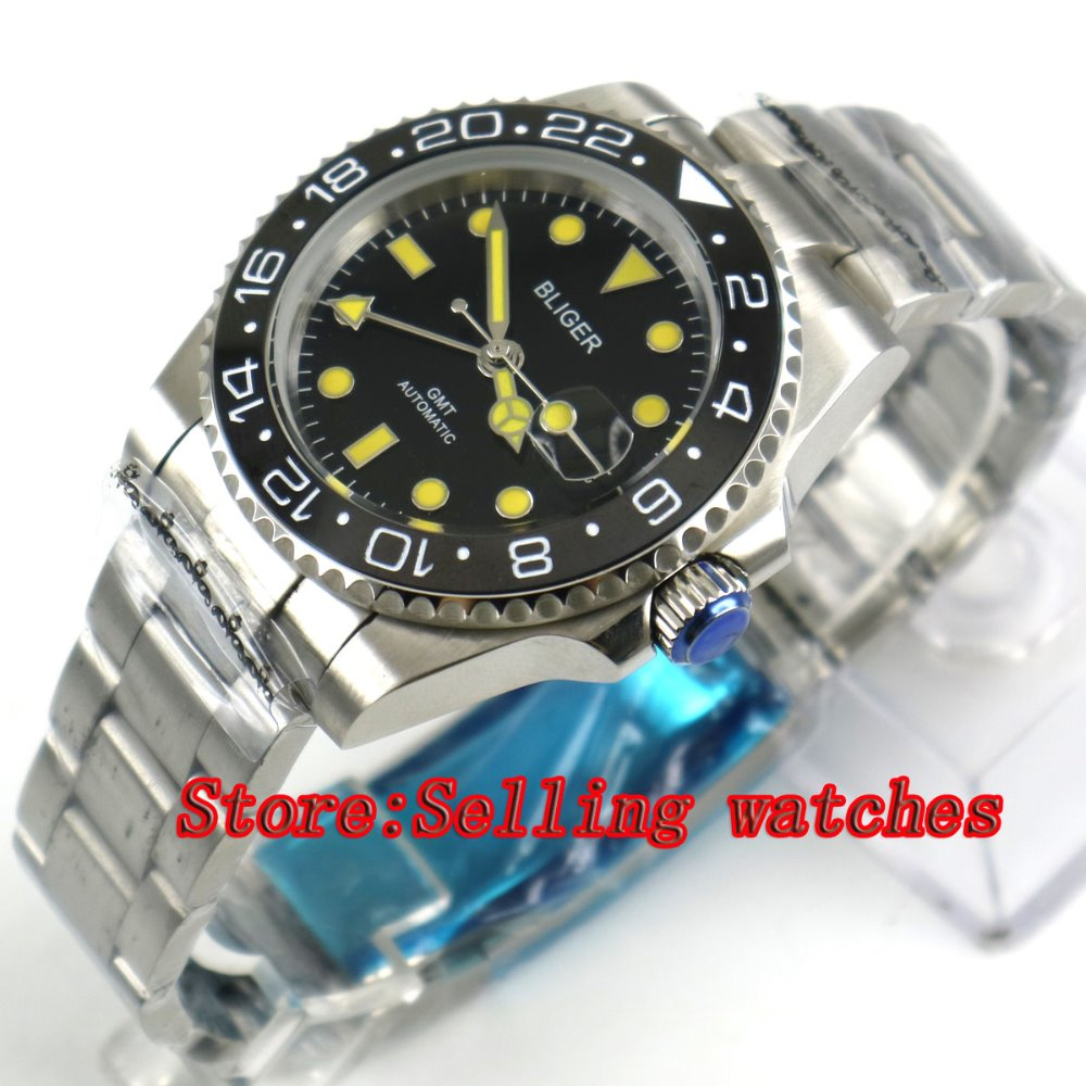 40mm Bliger black Dial black ceramic bezel GMT Luminous Hands Sapphire Glass Automatic Movement Mens Mechanical watches40mm Bliger black Dial black ceramic bezel GMT Luminous Hands Sapphire Glass Automatic Movement Mens Mechanical watches