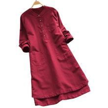 2019 New Yfashion Women Summer Long Shirt Loose Style Button Stand Collar Long Sleeves Asymmetric Hem Shirt burgundy stand collar long sleeves top with button details