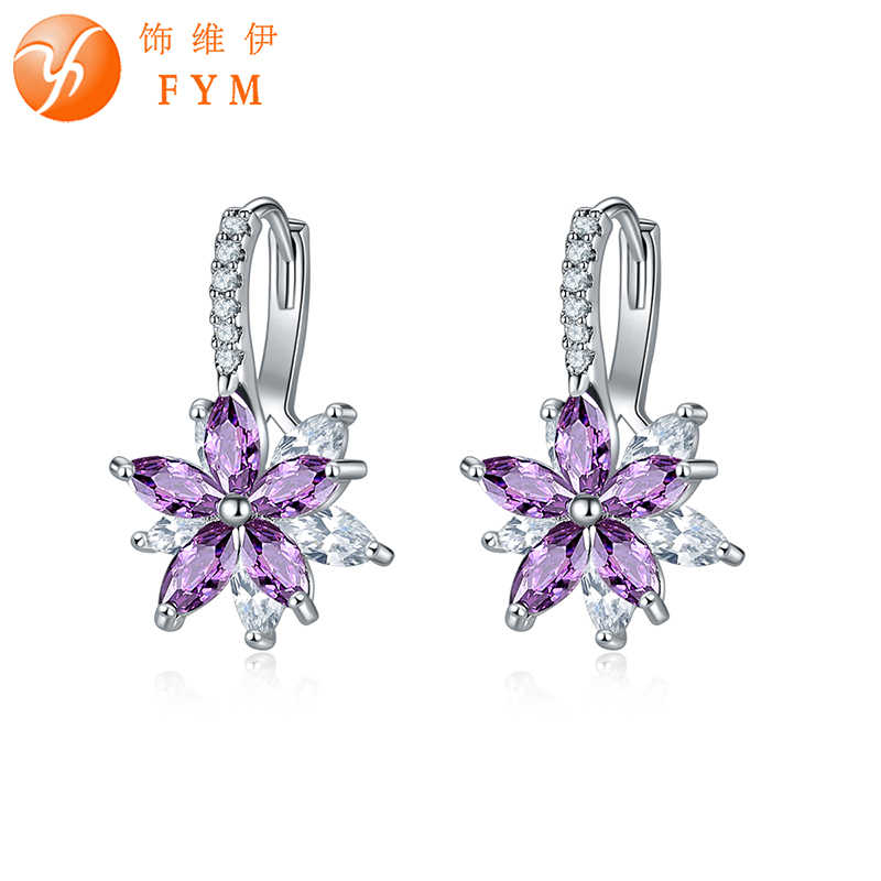 FYM Brand 12 Colors Fashion Copper Cubic Zirconia Flower Stud Earrings For Women Sliver colors Earring Party jewelry FYMER0601