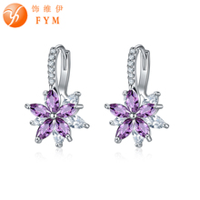 FYM Brand 12 Colors Fashion Copper Cubic Zirconia Flower Stud Earrings For Women Sliver colors Earring Party jewelry FYMER0601 colors for fashion