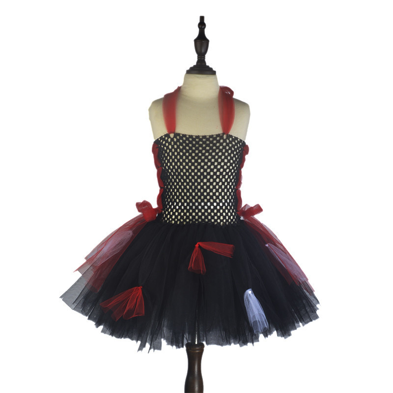 2T~7T Children Girls Princess Vampire Costume Children's Day Fanny Tutu Dress Carnival Party Dress Halloween Costume for Kids