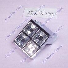 25 х 25 мм Т форма хромированная отделка цинковый сплав хрустальная мебель шкаф ящик ручки маленькие ручки
