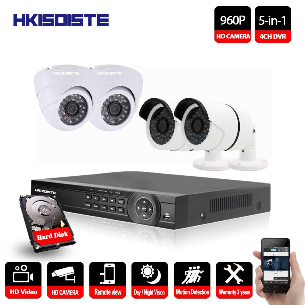 HKIXDISTE 4CH Kit DE VIDÉOSURVEILLANCE 960 P HD HDMI P2P DVR Système de Surveillance Vidéo De Sortie 4 pièces 1.3MP Caméra De Sécurité À Domicile Vision Nocturne Ir-cut