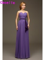 Cheap Purple Long Bridesmaids Dresses Sweetheart Ruching Chiffon Wedding Party Dresses For Women Bridesmaid Robes For Wedding