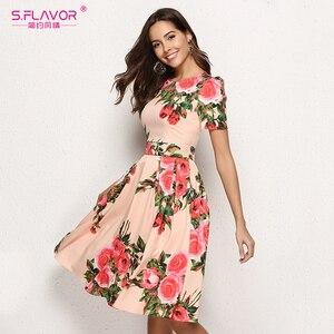 Image 3 - S. טעם נשים הדפסת קיץ שמלה אלגנטית קצר שרוול אביב Midi שמלת עבור נקבה נשים מקרית Vestidos דה