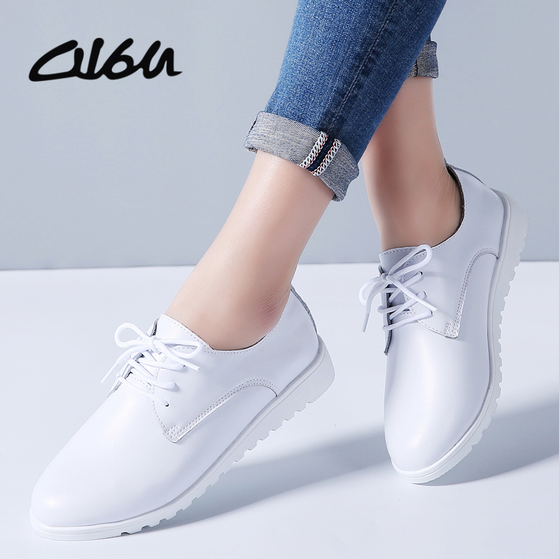 O16U 2018 Spring Women Oxfords Flats Shoes Genuine Leather Pointed Toe Ladies moccasins lace up loafers