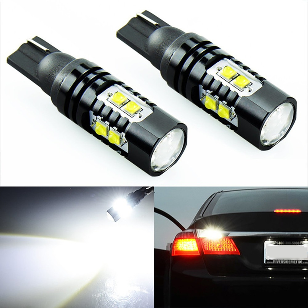 2x <font><b>T10</b></font> 194 <font><b>W5W</b></font> <font><b>CREE</b></font> Chip Led White 50W With Len Projector Aluminum Case Bulbs DRL Car Interior Reverse Source Light image