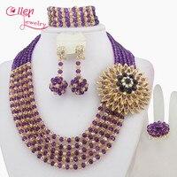 Purple African Beads Jewelry Set Crystal Beads Necklace Set nigerian wedding bridal jewelry set dubai necklace women W7115