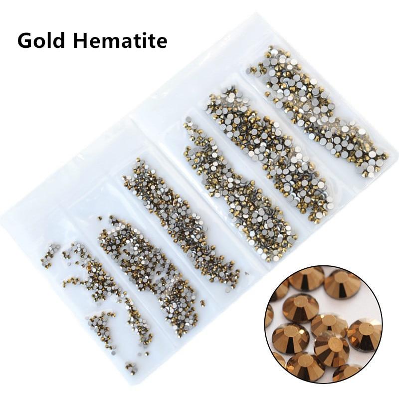 31 цвет, SS3-SS10, разные размеры, Хрустальные стеклянные стразы для дизайна ногтей, для 3D дизайна ногтей, стразы, украшения, драгоценные камни - Цвет: Gold Hematite