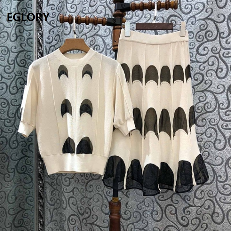 High Quality New 2019 Autumn Sweater Suits Women Color Block Knitted Pullovers+Mid-Calf Knitting Skirt Set Female Soft Knitwear