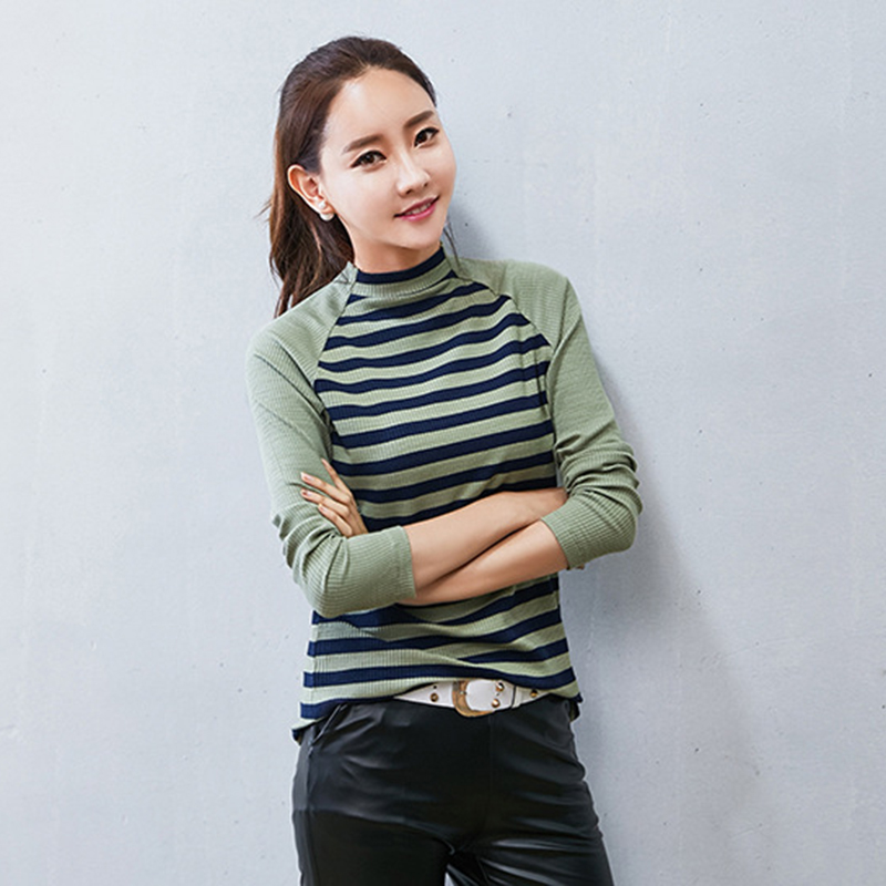Blusas Femme Camisas Femininas Manga Longa 2017 Korean Fashion Knitted Cotton Turtleneck Striped Blouse Long Sleeve