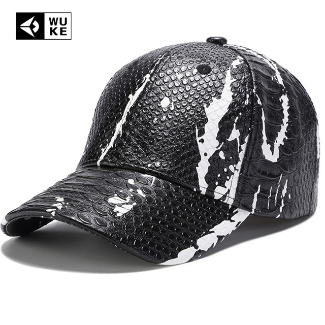 5f73c5de94a Men New Cool Baseball Caps Hat Men Black Color PU Leather Snake Skin Logo Men  Women Uisex Sport Adjustable Hats Cap
