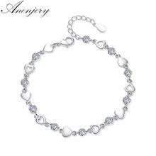Anenjery, новая мода, 925 пробы, серебро, любовь, сердце, циркониевые браслеты для женщин, ювелирные изделия с кристаллами, pulseira feminina, S-B144