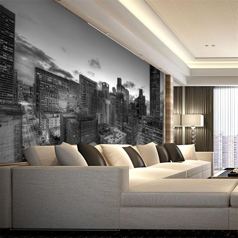 Mural wallpaper for living room industrial buildings for Carta da parati per soggiorno classico