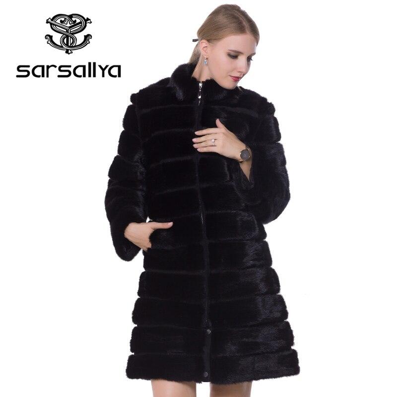 Abrigo de piel de visón Real de invierno abrigos de piel de visón Natural y chaqueta transformador negro ropa de abrigo de mujer 2019 Vintage Plus tamaño 7XL