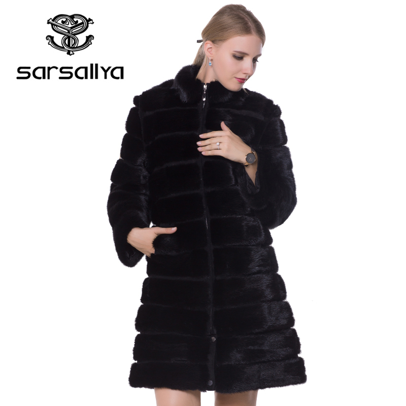 Real Mink Fur Coat Winter Long Natural Fur Mink Coats And Jacket Black Transformer Warm Women Clothes 2019 Vintage Plus Size 7XL