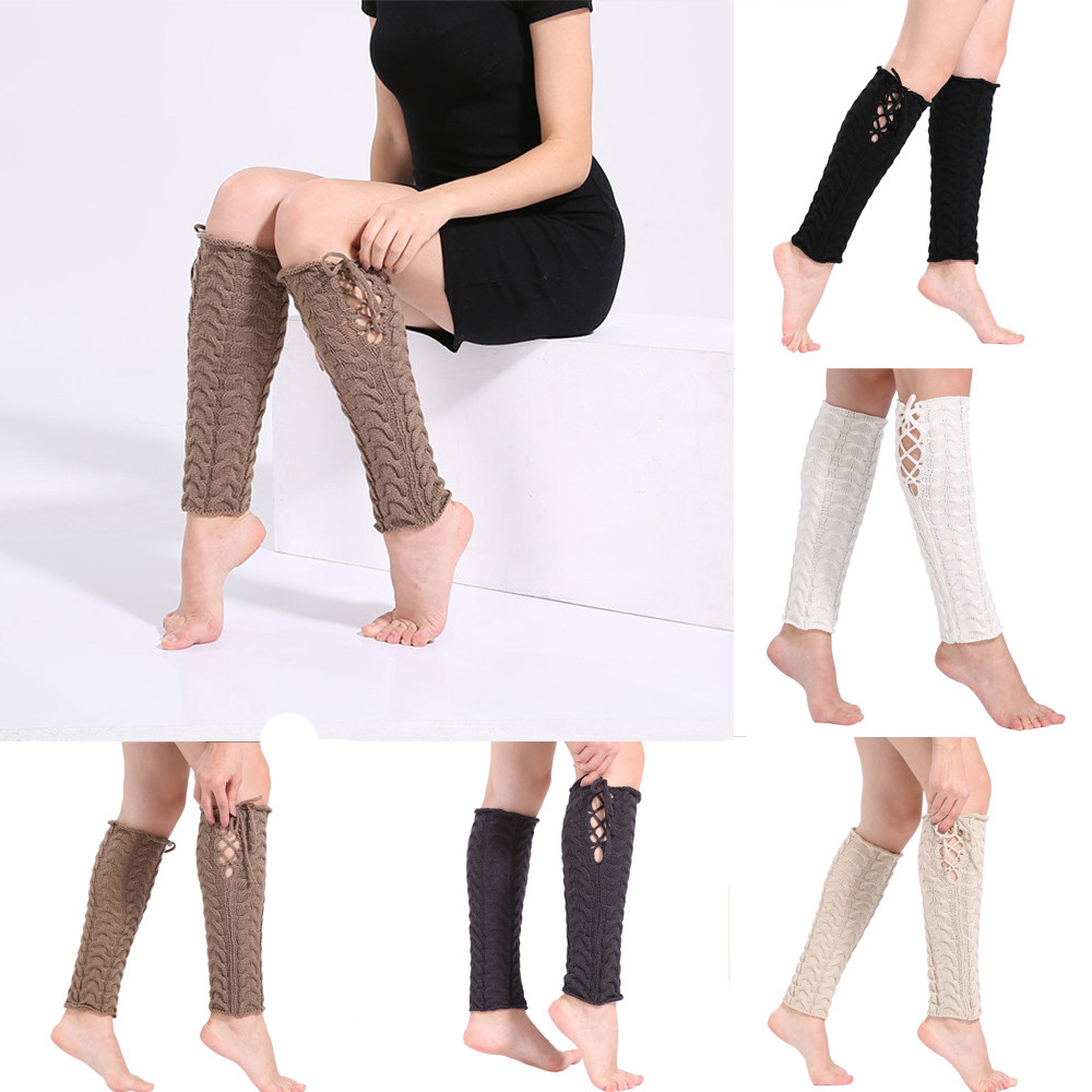 2017 FASHION New Women Winter Warm Leg Warmers Cable Knit Knitted Crochet Long Socks Y90 ...