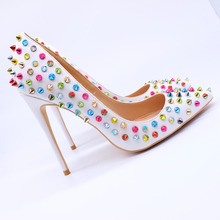 Free shipping  fashion women pumps white matt multi studded spikes pointed toe high heels sandals shoes boots pumps 12cm 10cm h free shipping vogue sexy nightclub adult cosplay pole dancing shoes women thigh high boots fashion pointed toe tall boot 12cm