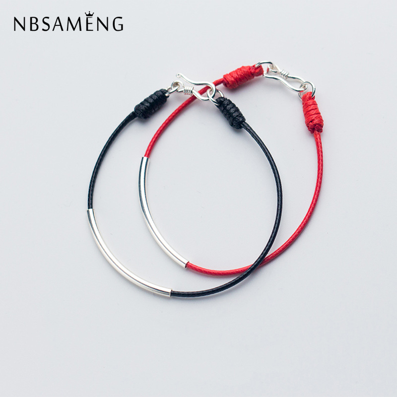 NBSAMENG Real 925 Sterling Silver Lucky Black/Red Thread Long Tube Charm String Bracelet For Men Women Gift Bracelets Jewelry s925 sterling silver bell lucky red rope bracelet handmade bracelets wax string amulet jewelry 1383