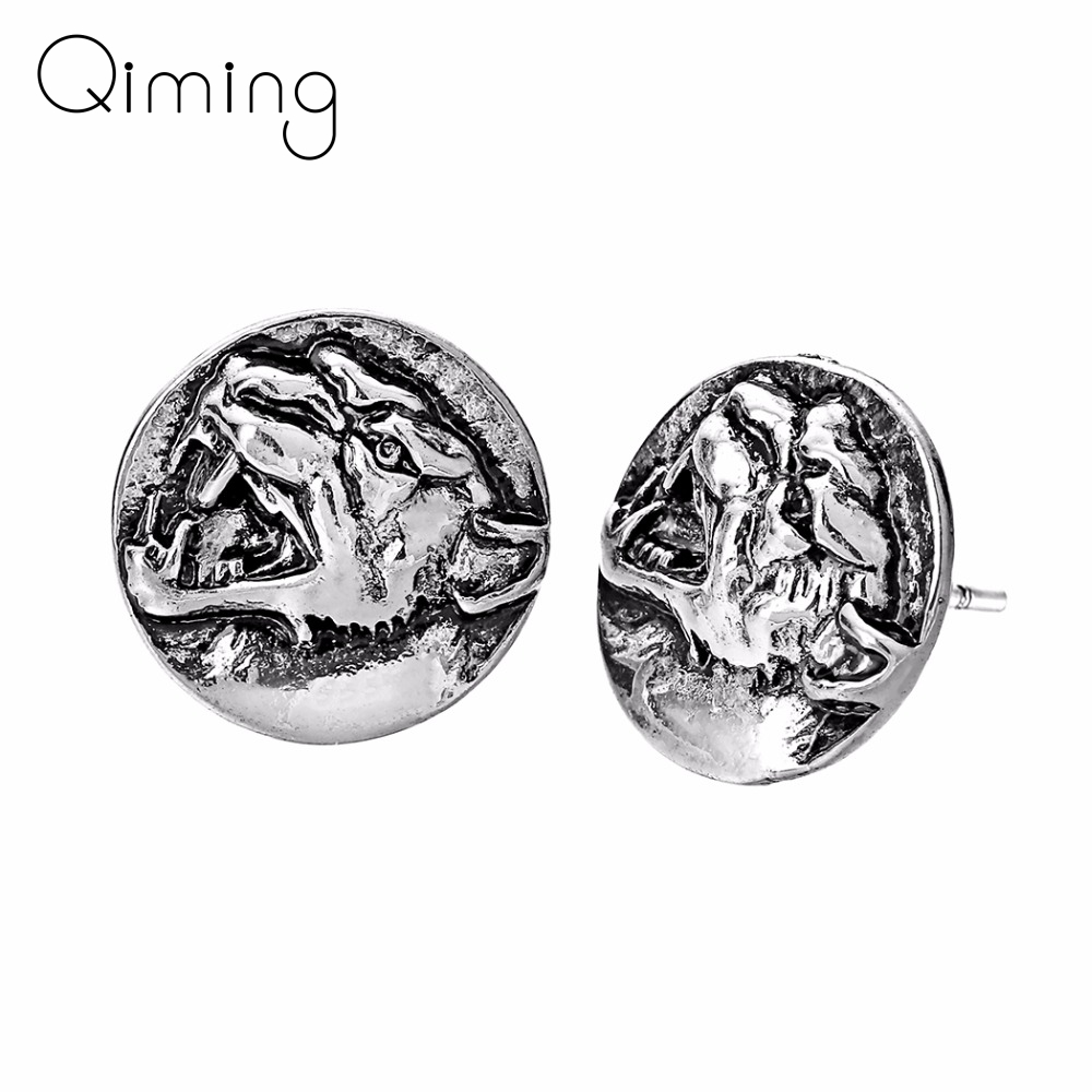 QIMING 3D Wolf Animal Women Vintage Men Earrings Viking Punk Jewelry Stud Earring fashion Boyfriend Gift Ear Man Gift