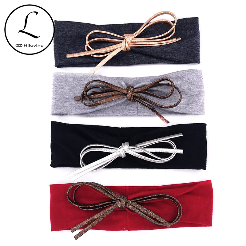 GZhilovingl 2019 Summer Baby Girls Leather Bow Headbands Headwear New Cute Kids Toddler Soft Cotton Elastic Head Wrap Hairbands