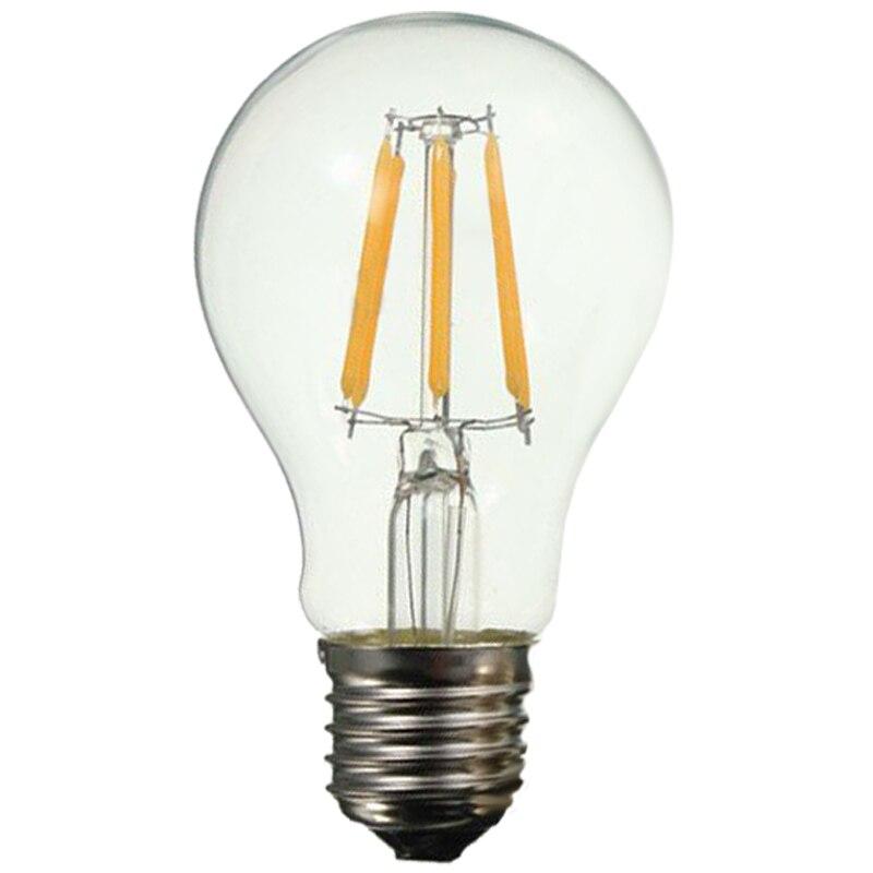 5x E27 A60 6W Edison Retro Vintage Filament COB LED Bulb Candle Light Lamp 5pcs e27 led bulb 2w 4w 6w vintage cold white warm white edison lamp g45 led filament decorative bulb ac 220v 240v