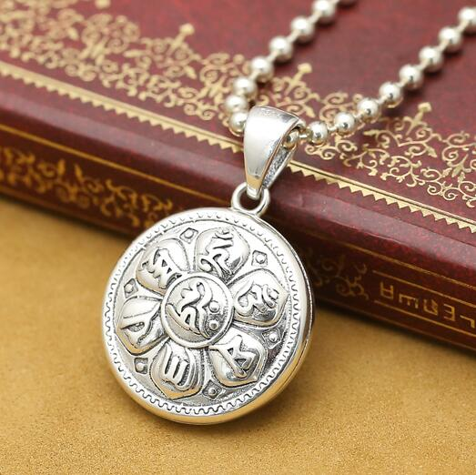 Men/'s Women Adjustable Necklace 925 Sterling Silver OM Lotus Pendant with Wax Rope DiyNotion NK169
