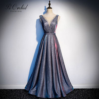 PEORCHID Sparkly 2019 Prom Dresses For Women A Line Floor Length Beaded Glitter Vestidos De Gala Elegant Formal Prom Gown