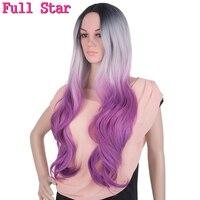 フルスター黒グレー紫かつら高温繊維24インチ280グラム完全な頭部長い自然波オンブル人工毛かつ